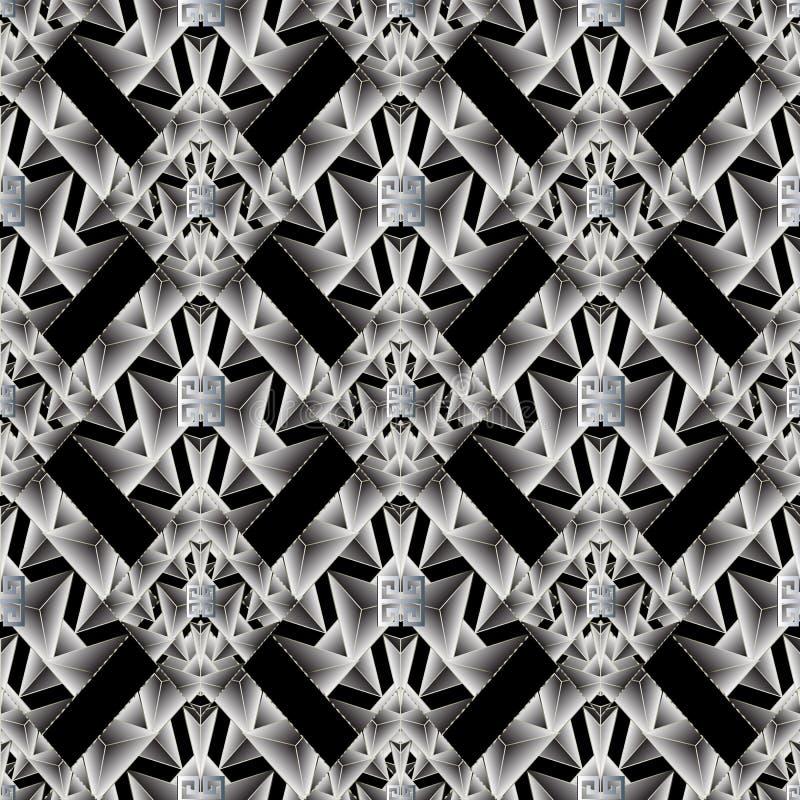 Nowożytny geometryczny bezszwowy wzór Abstrakcjonistyczny czarny wektorowy backgro ilustracji