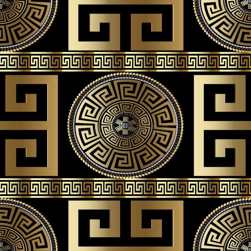 Nowożytny geometryczny grecki bezszwowy wzór Wektorowy złocisty meanderu bac royalty ilustracja