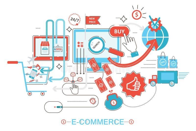 Nowożytny graficznego projekta stylu pojęcie online zakupy, handel elektroniczny online sprzedaże, cyfrowy marketing Promo mieszk ilustracja wektor