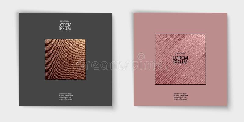 Nowożytny i elegancki minimalny projekt Miedziany glansowany tło struktura metalicznej Brązowa metal tekstura Różany kwarc wzór royalty ilustracja