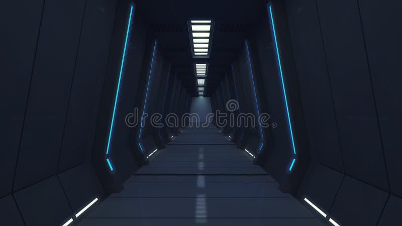 Nowożytny i futurystyczny statku kosmicznego korytarz fotografia royalty free