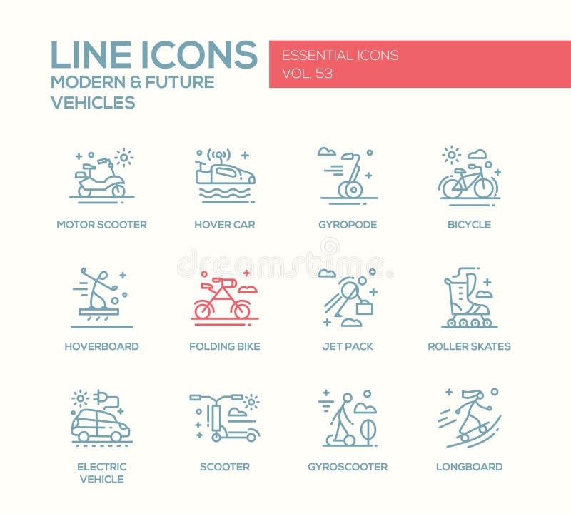 Nowożytny i Przyszłościowy pojazd - kreskowe projekt ikony ustawiać ilustracja wektor