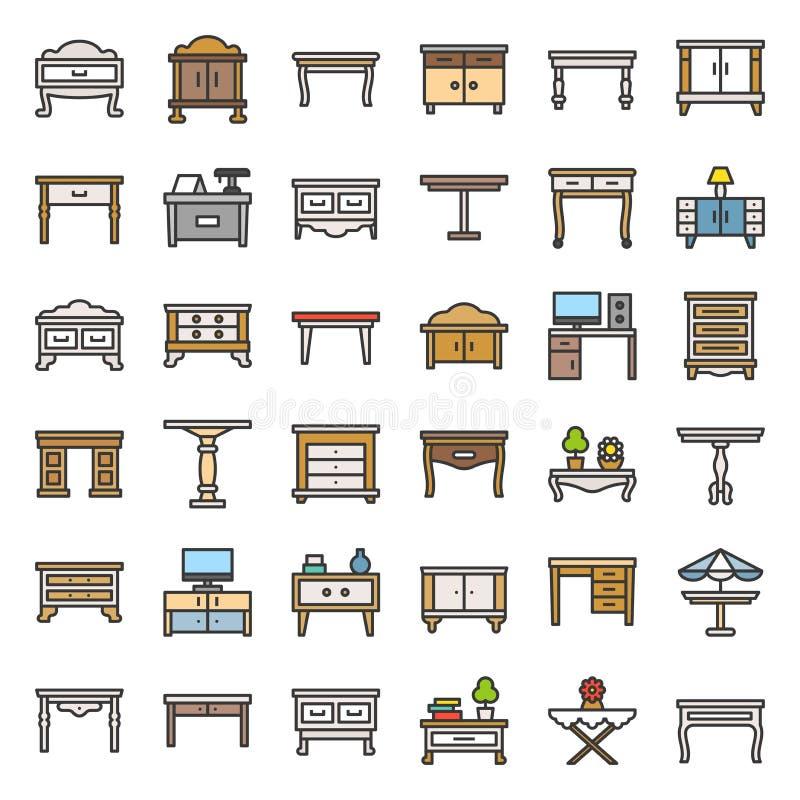 Nowożytny i rocznik stół i biurko, wypełniający kontur ikony set ilustracja wektor