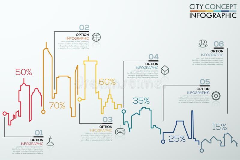 Nowożytny infographic opcja sztandar z kolorowego miasta prętową mapą royalty ilustracja