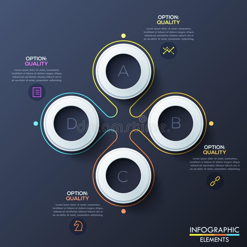 Nowożytny infographic projekta szablon z 4 pierścionkami inside białymi listami i, kwiatu płatka diagram ilustracja wektor