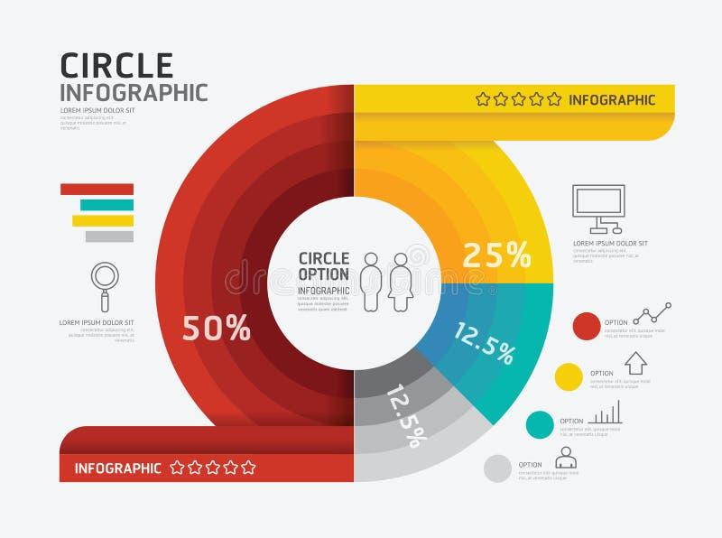 Nowożytny infographic sztandaru okrąg geometryczny z kreskowymi ikonami ilustracja wektor