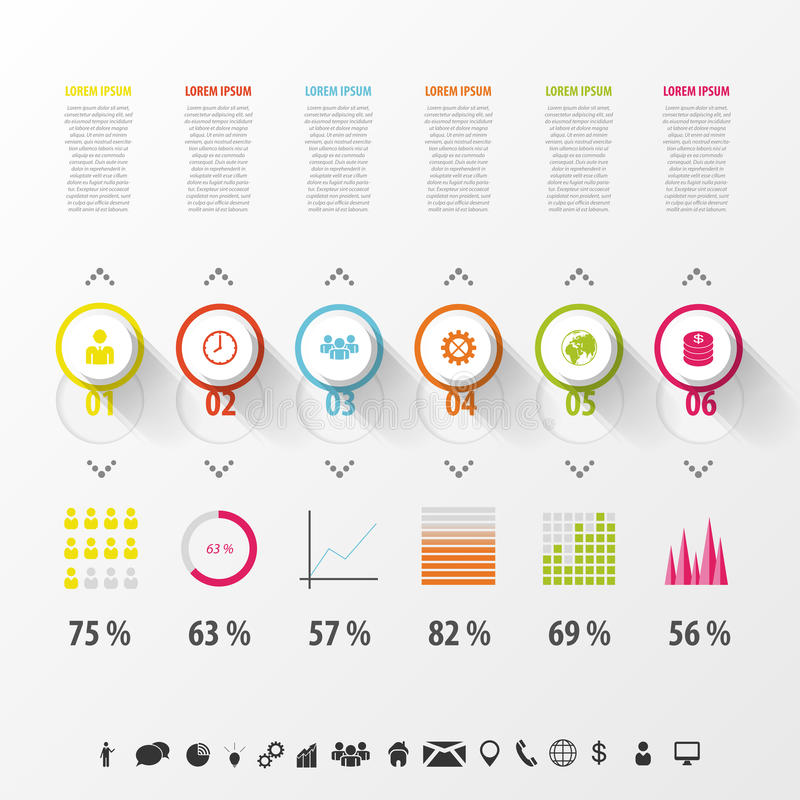 Nowożytny infographics set Diagram i linia czasu projekt ilustracja wektor