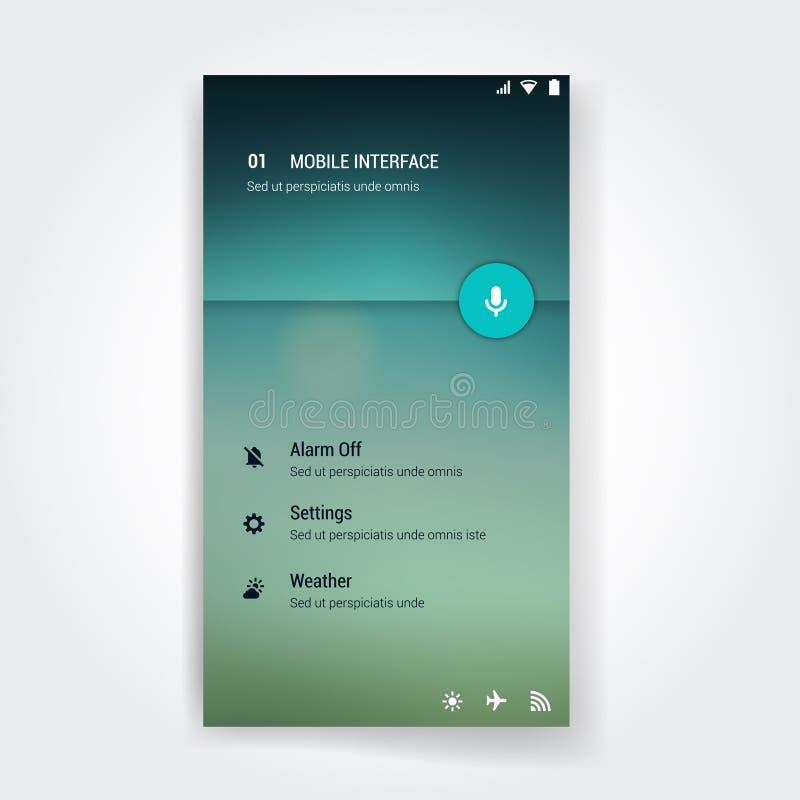 Nowożytny interfejsu użytkownika ekranu szablon dla wiszącej ozdoby ilustracja wektor