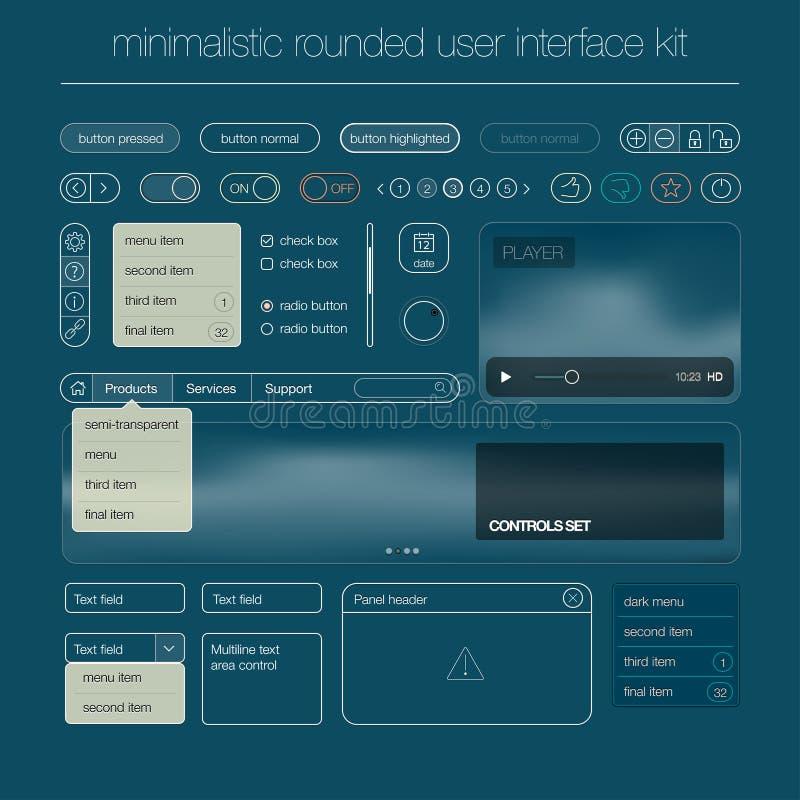 Nowożytny interfejsu użytkownika ekranu szablonu zestaw dla ilustracji