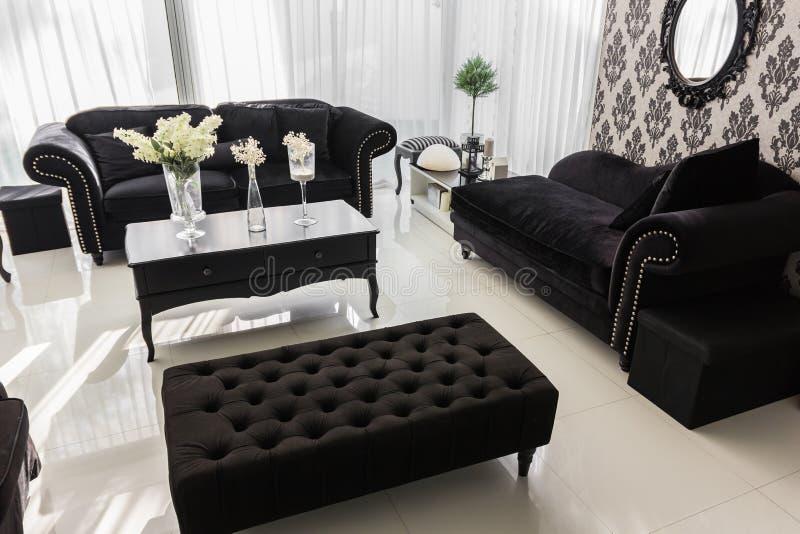 Nowożytny intymny żywy pokój z kopii przestrzenią dla twój swój wizerunków zdjęcia royalty free