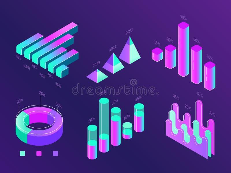 Nowożytny isometric biznesowy infographic Odsetek mapy, statystyk kolumny i diagramy, Dane 3d prezentaci mapa ilustracja wektor