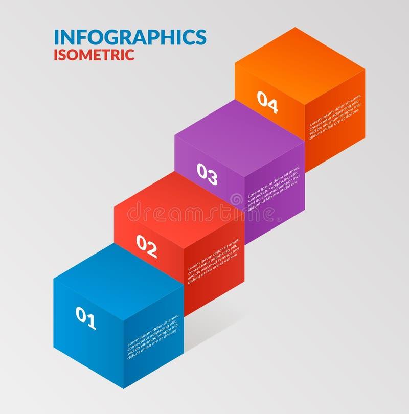 Nowożytny isometric infographics kroczy elemsnts elementu szablon również zwrócić corel ilustracji wektora może używać dla obieg  ilustracji