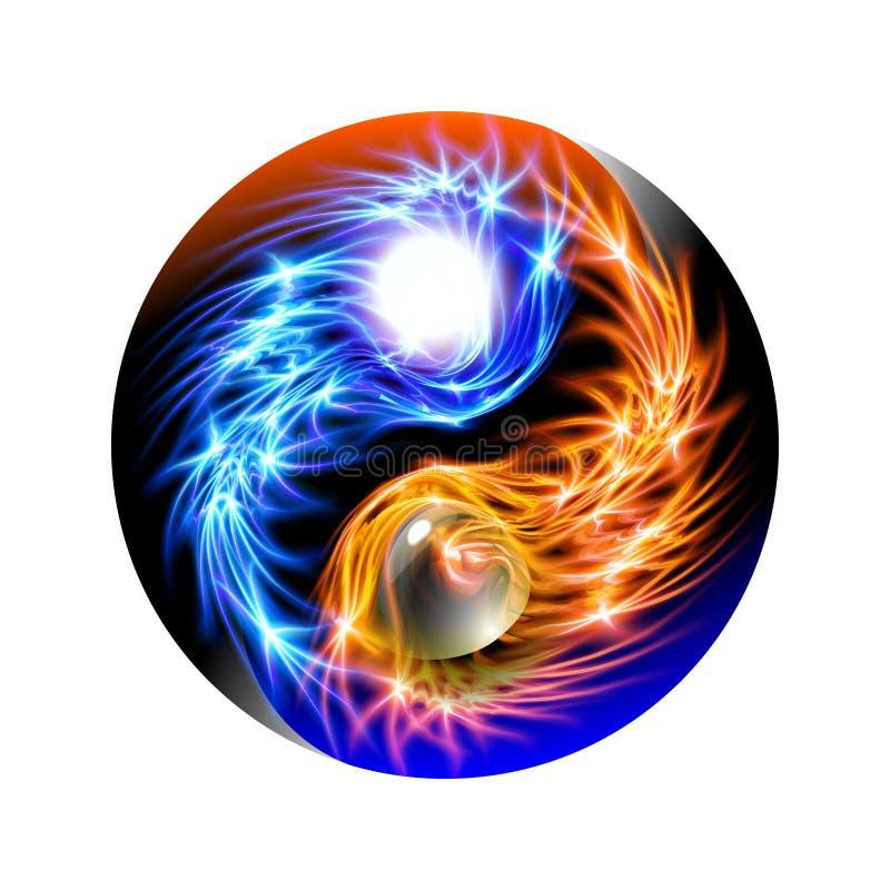 Nowożytny jarzący się pojęcie Yin i Yang mandala błękitnego i czerwonego Kolorowy ornamentacyjny duchowy relaks Piękny iluminując ilustracji