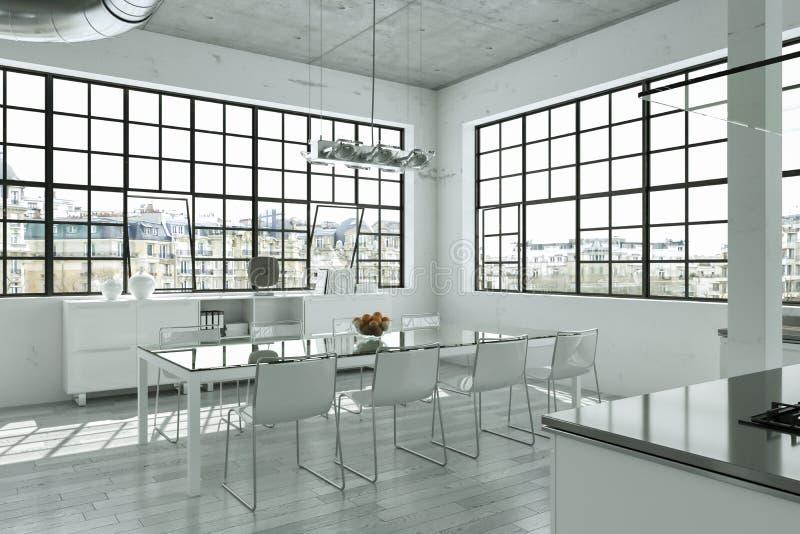 Nowożytny jaskrawy loft z dużym Windows wewnętrznym projektem royalty ilustracja
