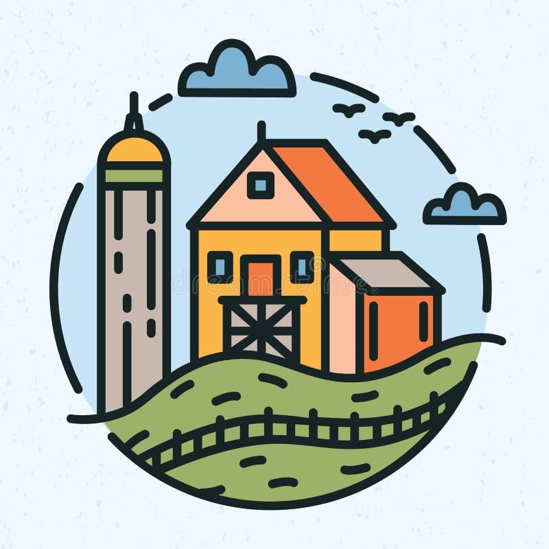 Nowożytny kółkowy logo z wiejskim krajobrazem, rolnym budynek i stajnia rysujący w kreskowej sztuki stylu Round logotyp z royalty ilustracja