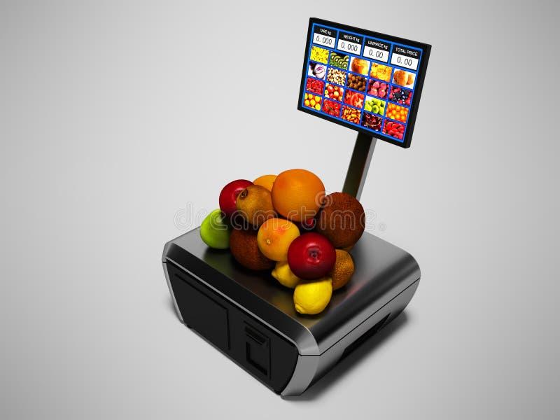 Nowożytny kasjer z monitorem dla kupować jabłka kiwi kokosowe pomarańcze odizolowywający 3d odpłaca się na szarym tle z cieniem ilustracja wektor