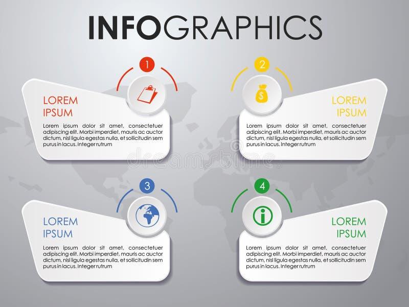 Nowożytny kolorowy infographics opcj szablonu wektor na popielatym bac royalty ilustracja