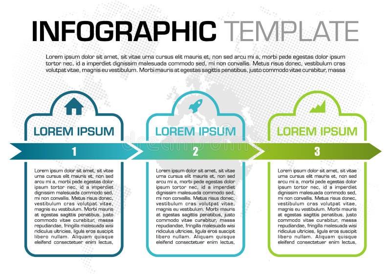 Nowożytny kolorowy infographics opcji szablonu wektor z błękitnym prostokątem i kropkującą mapą ilustracji