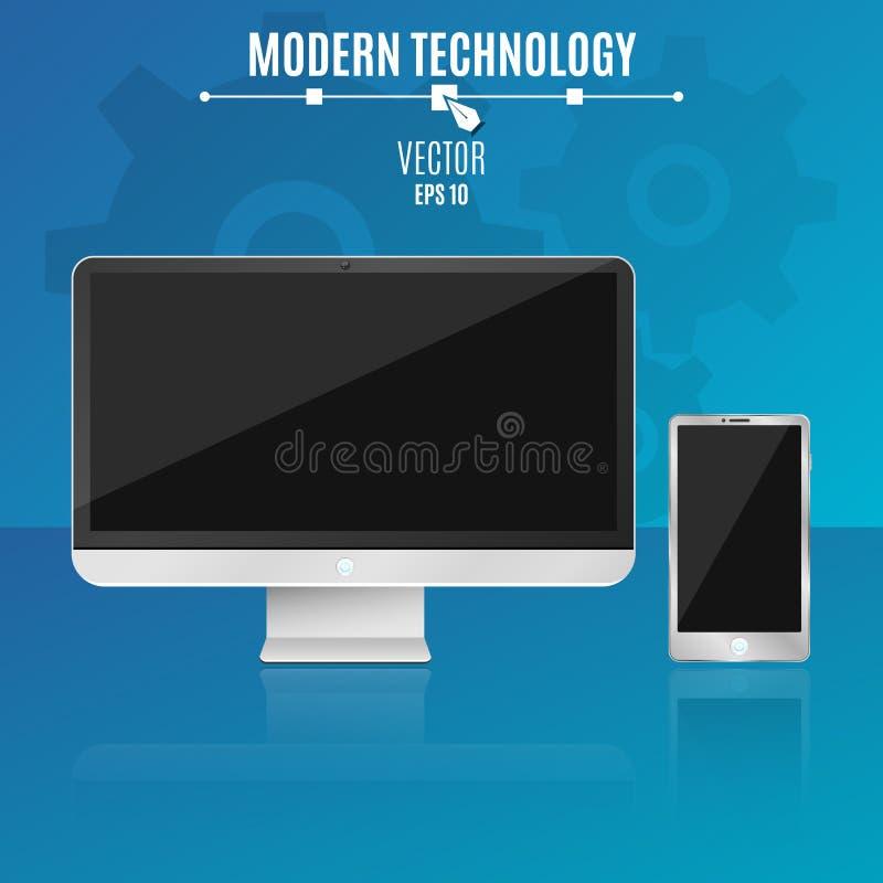 Nowożytny komputer i telefon na błękitnym tle Pusty, czerń ekran monitor Technika również zwrócić corel ilustracji wektora royalty ilustracja