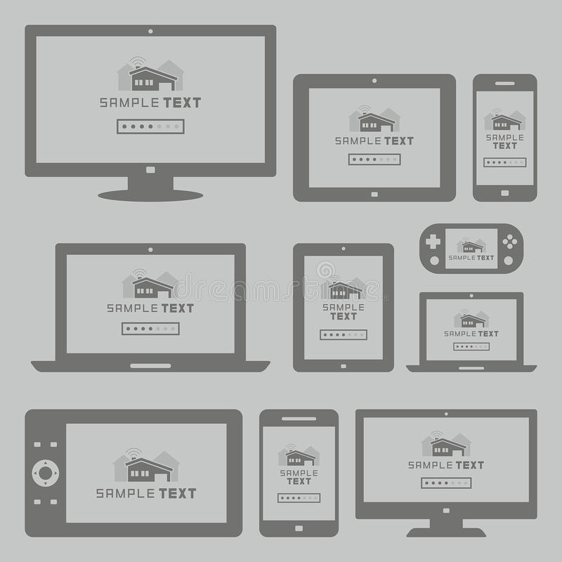 Nowożytny komputer i urządzenia przenośne ustawiający ilustracji