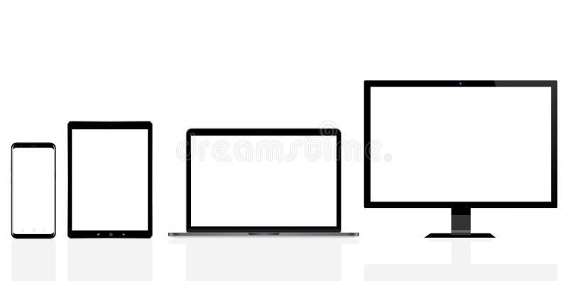 Nowożytny komputer, laptop, telefon komórkowy i cyfrowy pastylka komputer osobisty, royalty ilustracja