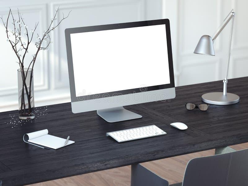 Nowożytny komputer na czarnym drewnianym stole świadczenia 3 d ilustracja wektor