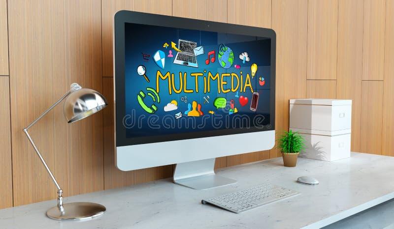Nowożytny komputer z multimedialnej prezentaci 3D renderingiem royalty ilustracja