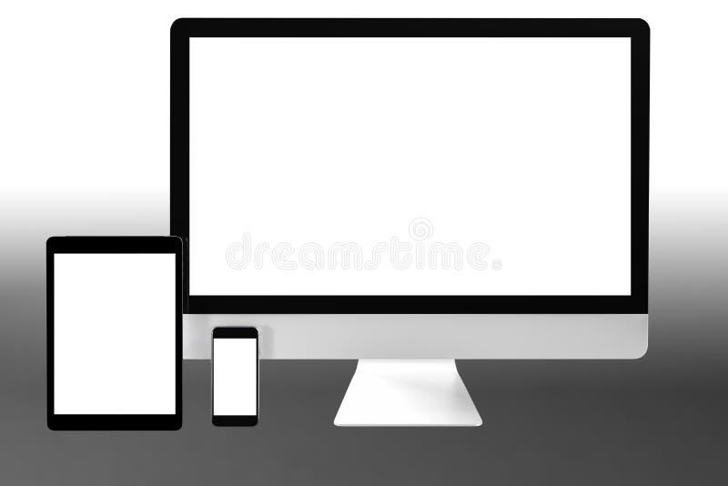 Nowożytny komputerowy laptopu telefon komórkowy, pastylka i odizolowywamy z ścinek maską dla mockup projekta, 3D rendering royalty ilustracja