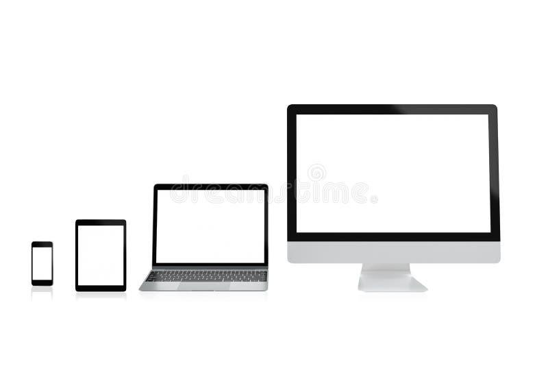 Nowożytny komputerowy laptopu telefon komórkowy, pastylka i odizolowywamy z ścinek maską na białym tle dla mockup, 3D rendering ilustracji