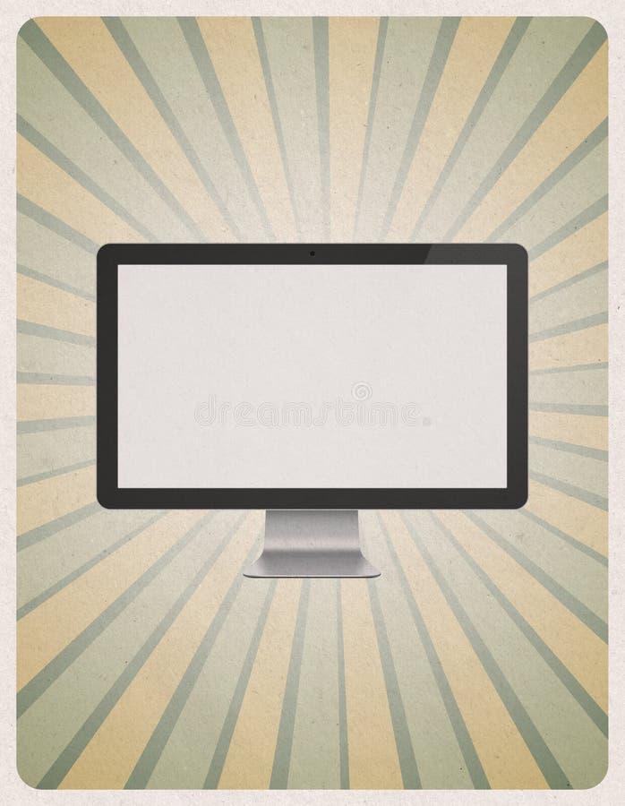 Nowożytny komputerowy monitor na retro tle royalty ilustracja