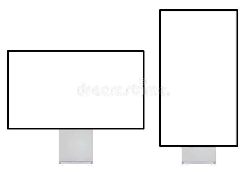 Nowożytny komputerowy monitoru setu krajobraz i portret podrzucamy royalty ilustracja