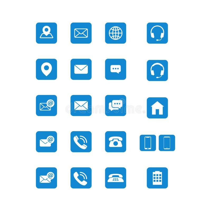 Nowożytny komunikacja kontakt my ikona set royalty ilustracja