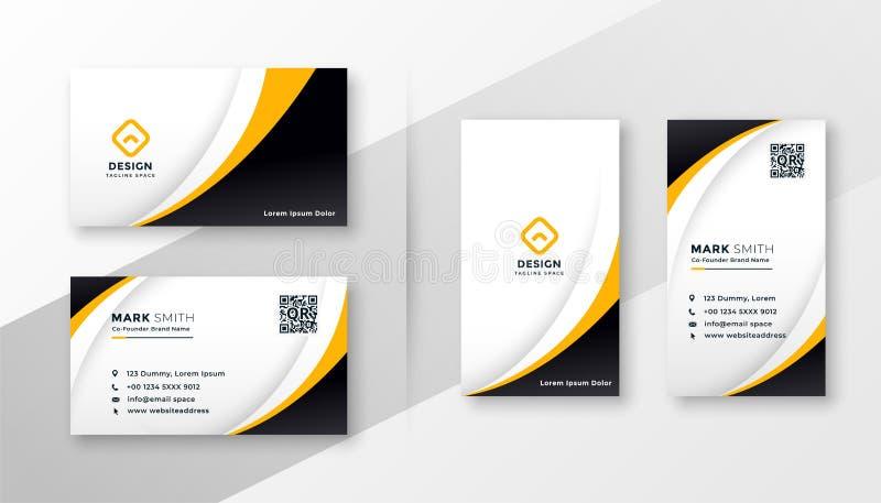 Nowożytny korporacyjny wizytówka projekt w żółtym temacie ilustracja wektor