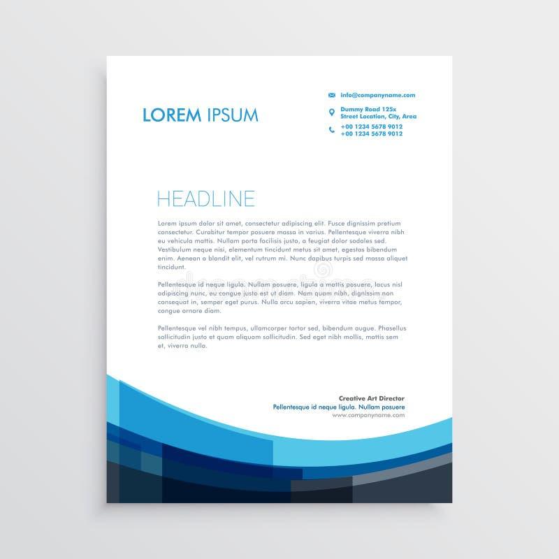 Nowożytny kreatywnie błękitny letterhead szablonu projekt ilustracja wektor