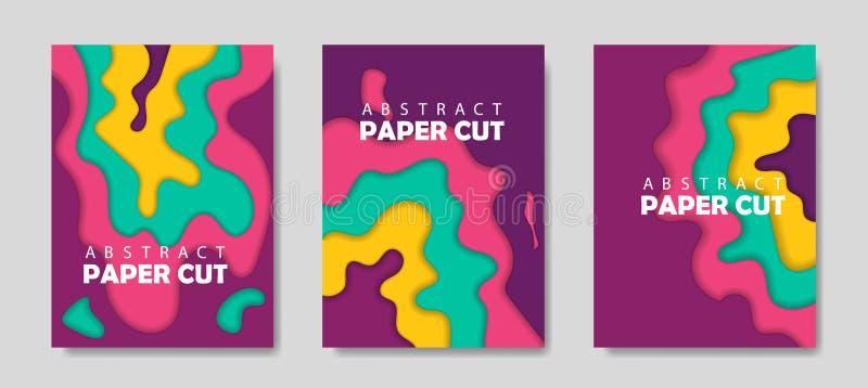 Nowożytny kreatywnie set plakaty z 3d tła i papieru abstrakcjonistycznym cięciem kształtuje Projekta układ, minimalny szablonu we ilustracji