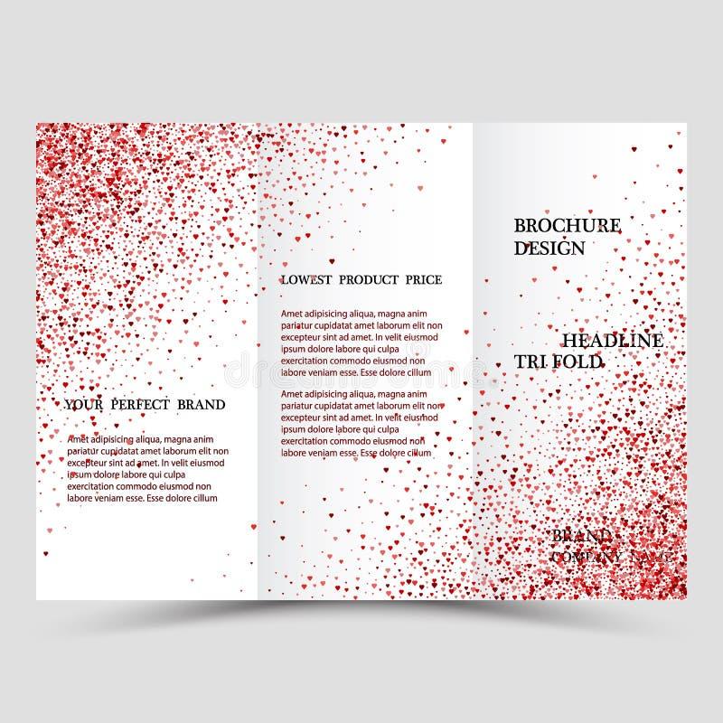 Nowożytny kreatywnie szablon trzy biznesowej broszurki z różowym abstrakcjonistycznym połyskiem royalty ilustracja