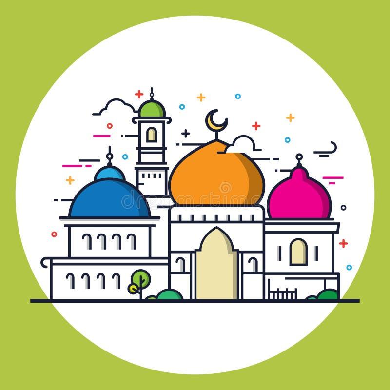 Nowożytny kreskowego stylu Islamski meczet ilustracji