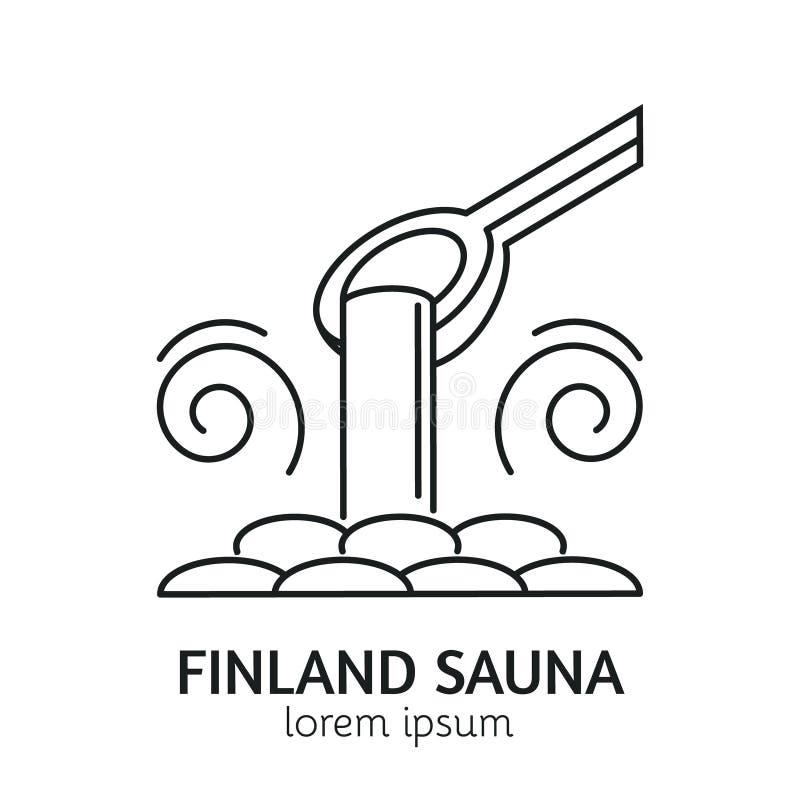 Nowożytny Kreskowego stylu Sauna logotypu szablon ilustracja wektor