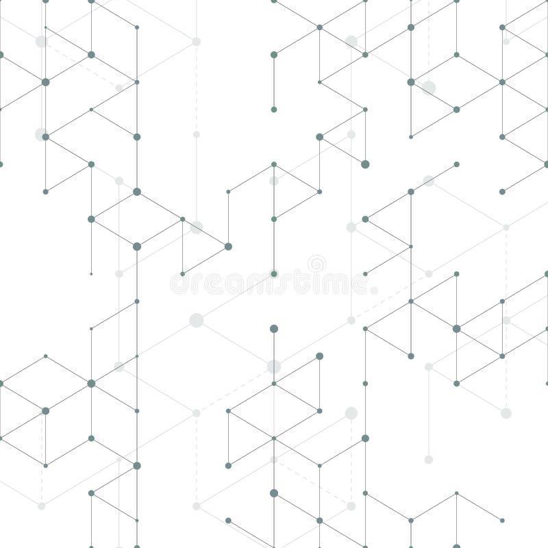 Nowożytny kreskowej sztuki wzór z złączonymi liniami na białym tle Podłączeniowa struktura Abstrakcjonistyczna geometryczna grafi ilustracji