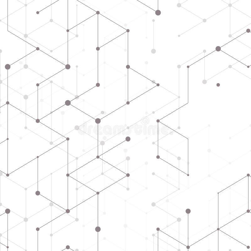 Nowożytny kreskowej sztuki wzór z złączonymi liniami na białym tle Podłączeniowa struktura Abstrakcjonistyczna geometryczna grafi ilustracja wektor