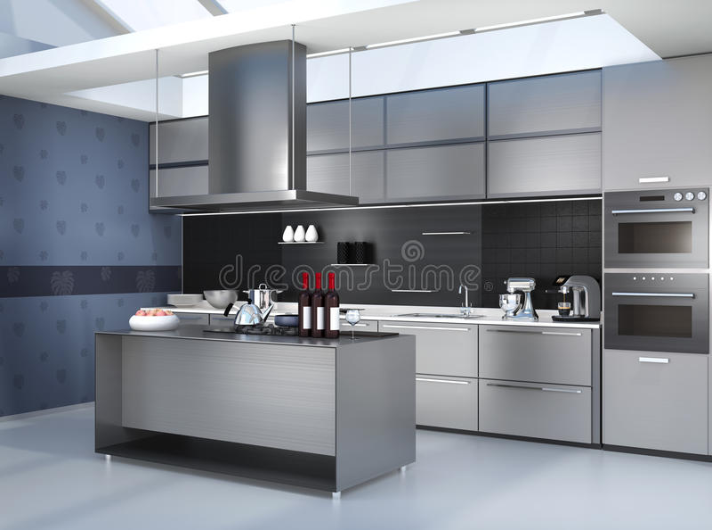 Nowożytny kuchenny wnętrze z mądrze urządzeniami w czarnej kolor koordynaci ilustracji
