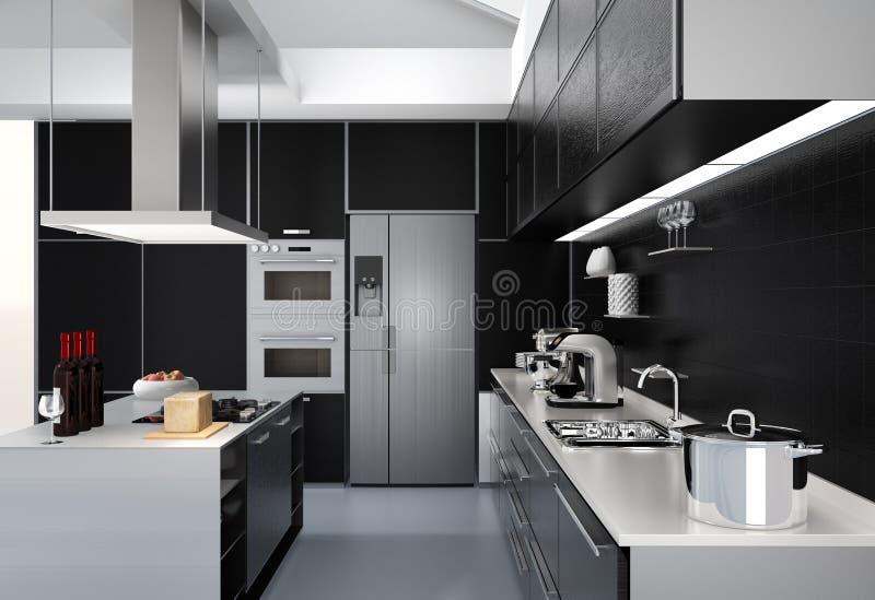 Nowożytny kuchenny wnętrze z mądrze urządzeniami w czarnej kolor koordynaci ilustracja wektor