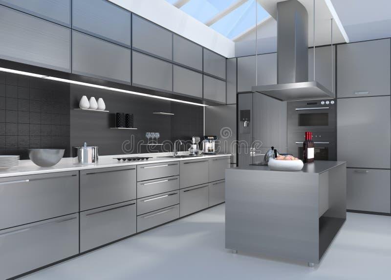 Nowożytny kuchenny wnętrze z mądrze urządzeniami w srebnej kolor koordynaci ilustracji