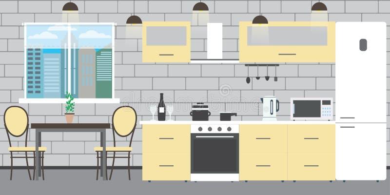 Nowożytny kuchenny wnętrze z meble na ściany z cegieł backgroun ilustracja wektor