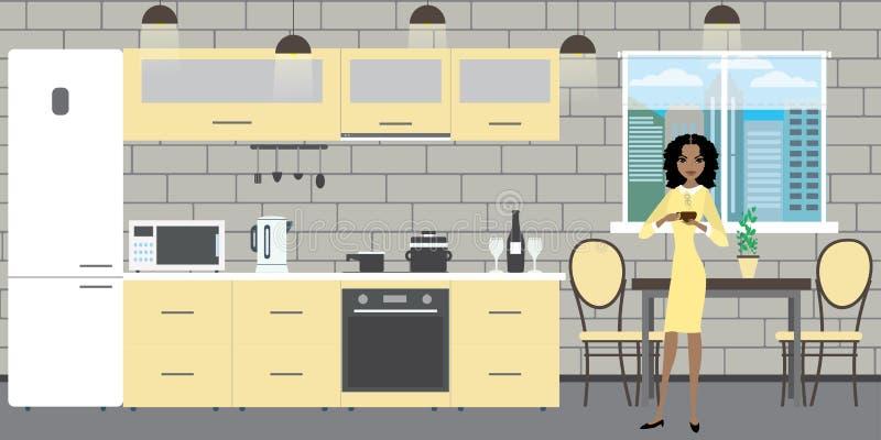 Nowożytny kuchenny wnętrze z meble na ściany z cegieł backgroun royalty ilustracja