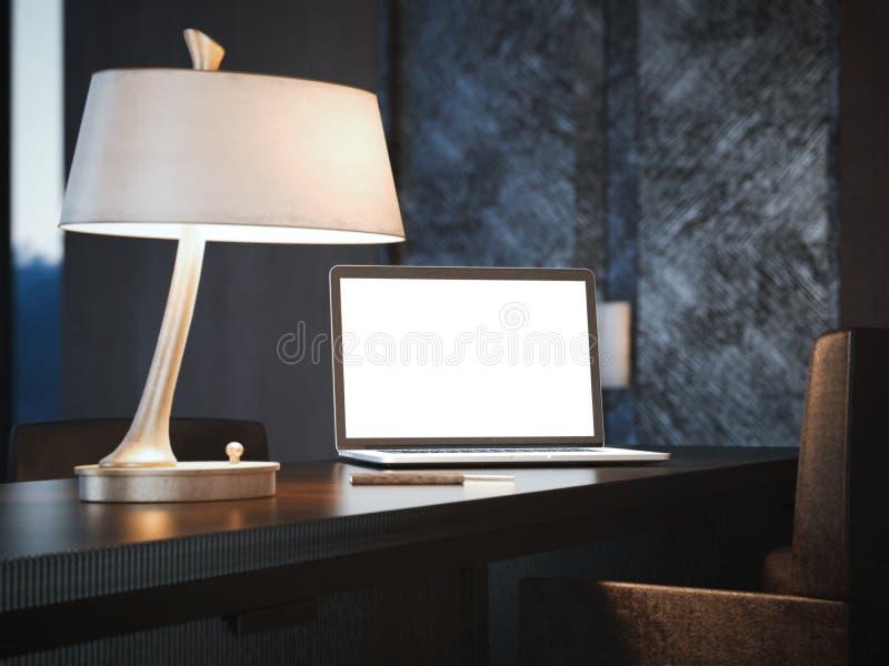 Nowożytny laptop na klasycznym drewno stole świadczenia 3 d ilustracji