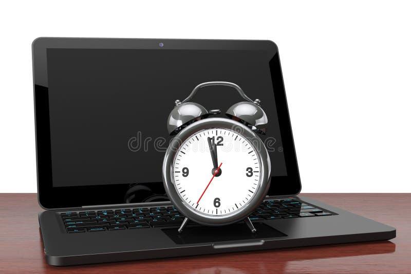 Nowożytny laptop z budzikiem fotografia royalty free