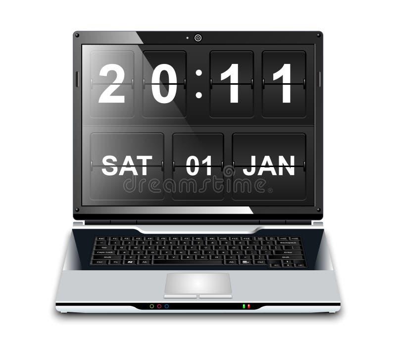 Nowożytny laptop z trzepnięcie zegaru screensaver ilustracja wektor