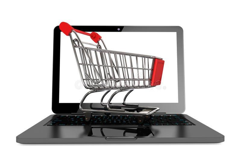 Nowożytny laptop z wózek na zakupy fotografia royalty free