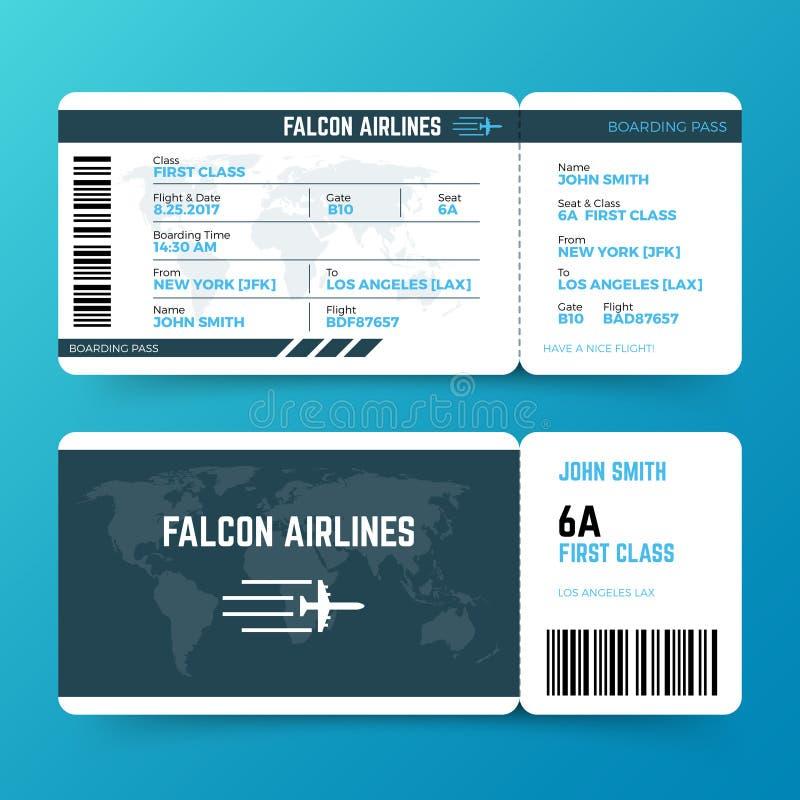 Nowożytny linii lotniczej podróży abordażu przepustki biletowy wektorowy szablon royalty ilustracja